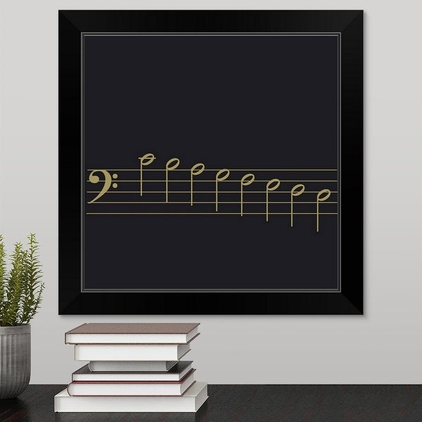 """""""Black and white illustration of bass clef with scale of 8 notes on stave"""" Black Framed Print"""