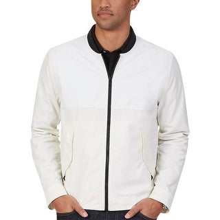 Nautica Mens Bomber Jacket Contrast Trim Long Sleeves