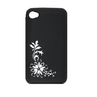 Silicone Flower Pattern Phone Cover White Black for iPod Touch 4G