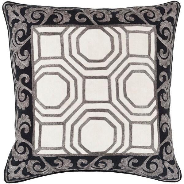 "20"" Cedar Brown and Shadow Black Geometric & Scroll Print Throw Pillow-Down Filler"