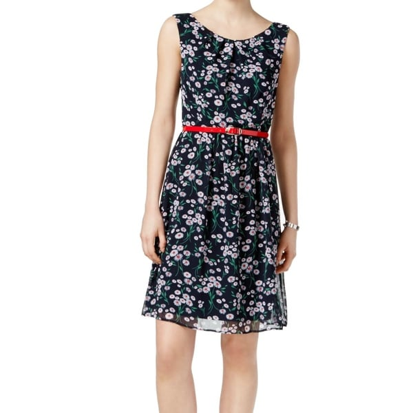 Connected Apparel Blue Womens Size 14 Floral Belted A-Line Dress