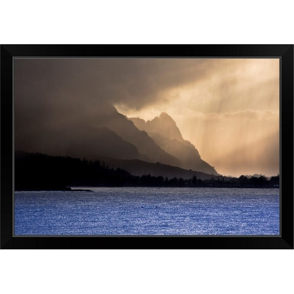 """Afternoon at Hanalei Bay"" Black Framed Print"