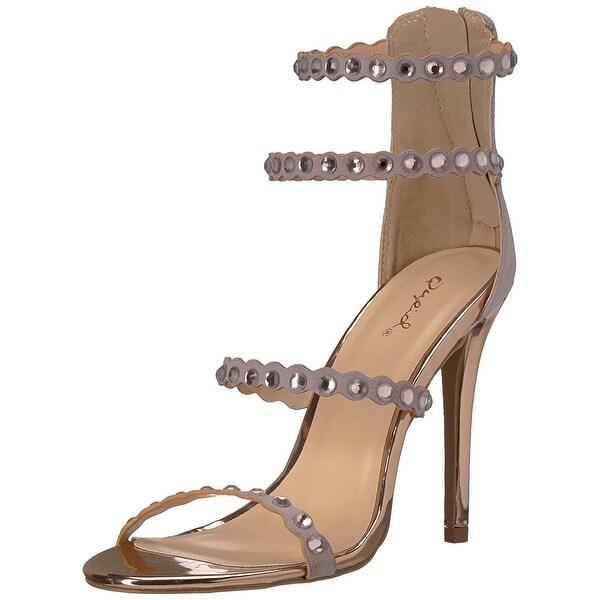 Qupid Women's Single Sole Rhinestones Heeled Sandal
