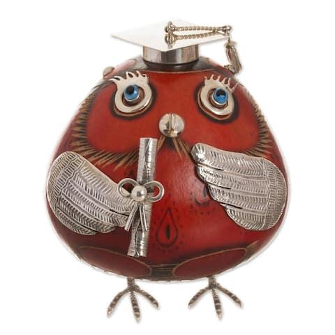 "Handmade Pride Of Graduation Sterling Silver And Gourd Figurine (Peru) - 2.8"" H x 2.8"" W x 2.8"" D"