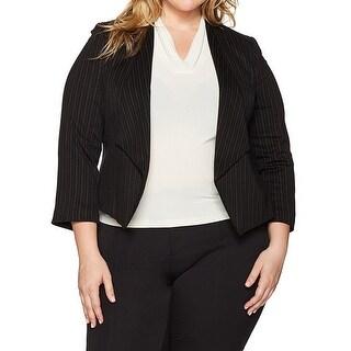 Nine West NEW Black Womens Size 20W Plus Kiss Front Pinstripe Jacket