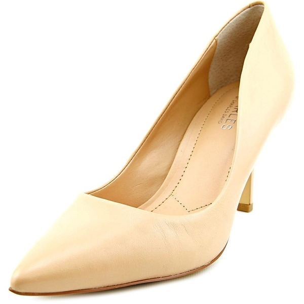 Charles By Charles David Sasha Women Pointed Toe Leather Nude Heels