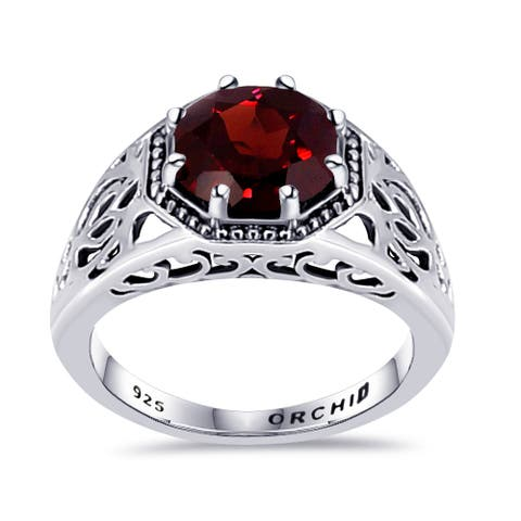 Spinel, Garnet Sterling Silver Round Solitaire Rings by Orchid Jewelry
