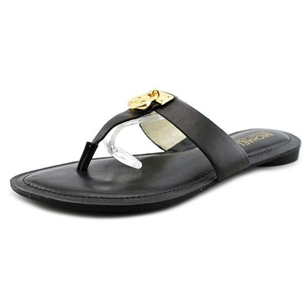 Michael Michael Kors Hamilton Flat Women Open Toe Leather Black Thong Sandal
