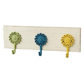 Set of 2 Blue, Green, and Yellow Natural Triple Bloom Wall Hook Rack 20""