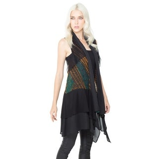Women's Tunic Vest - Turquoise & Orange Striped Open Front Waterfall Top