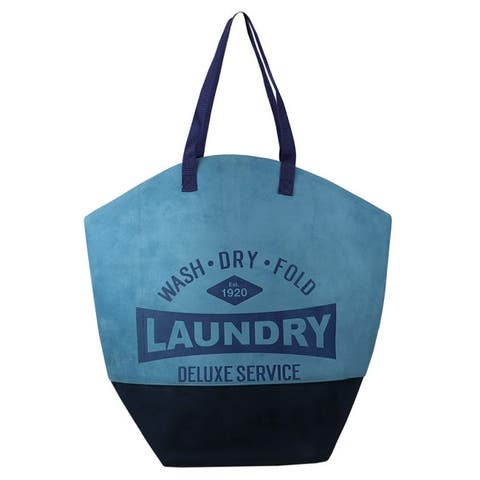 Deluxe Service Wash Dry Fold Canvas Laundry Tote, Blue