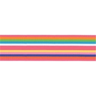 Offray 294362 Roman Stripe Ribbon 1.5 in. 3 Yards-Cotton Candy