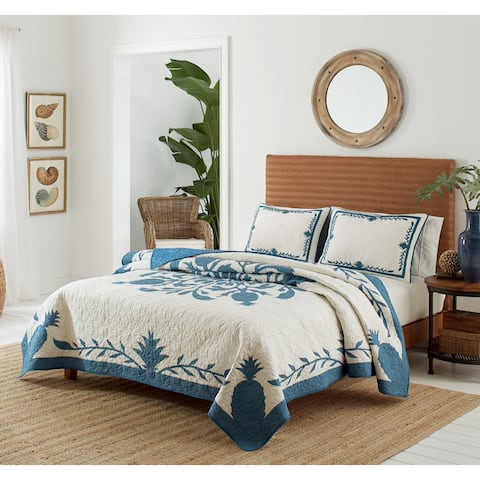 Tommy Bahama ALL COTTON_Aloha Pineapple Blue Quilt
