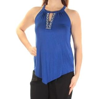 Womens Blue Sleeveless Keyhole Casual Top Size XXL