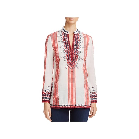 Tory Burch Womens Tory Tunic Top Embroidered V-Neck