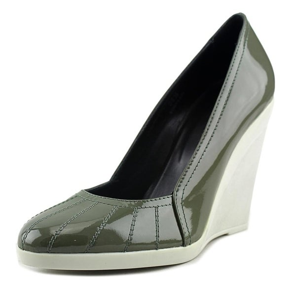 Hogan 138 Wedge Decollete Women Open Toe Patent Leather Green Wedge Heel
