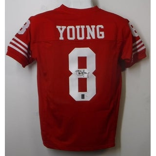 Steve Young Autographed San Francisco 49ers Size XL Red Jersey Name Only JSA