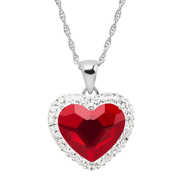 Crystaluxe Red Heart Halo Pendant with Swarovski Crystals in Sterling Silver 0d21314b3a8a