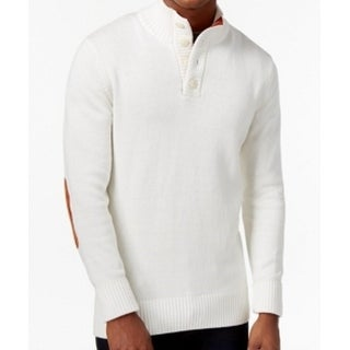 Sean John NEW White Ivory Men's 3XL Mock Neck Elbow-Patch Sweater