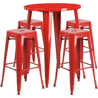 Brimmes 5pcs Round 30'' Red Metal Table w/4 Square Seat Backless Barstool