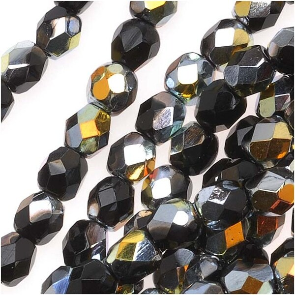 Czech Fire Polished Glass Beads 4mm Round Jet Marea (50)