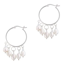 GIG Jewels Sterling Silver White Cultured Freshwater Pearls Round Tube Hoop Earrings (5-6 mm)