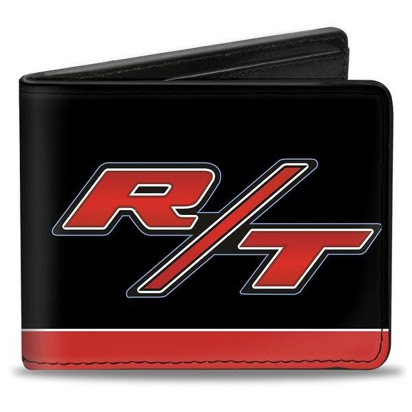 Dodge Challenger R T Emblem Stripe Black Blue White Red Bi Fold Wallet - One Size Fits most