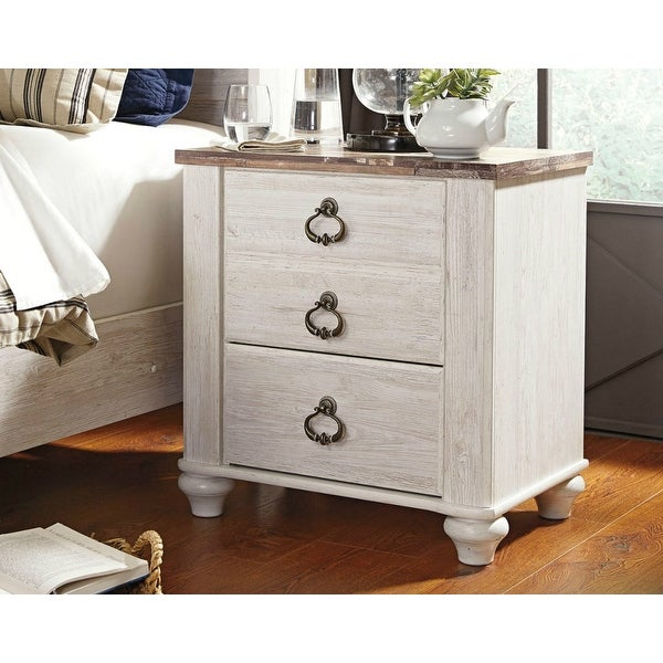 Ashley B267-92 Willowton Two Drawer Night Stand w/ Two-Tone Finish