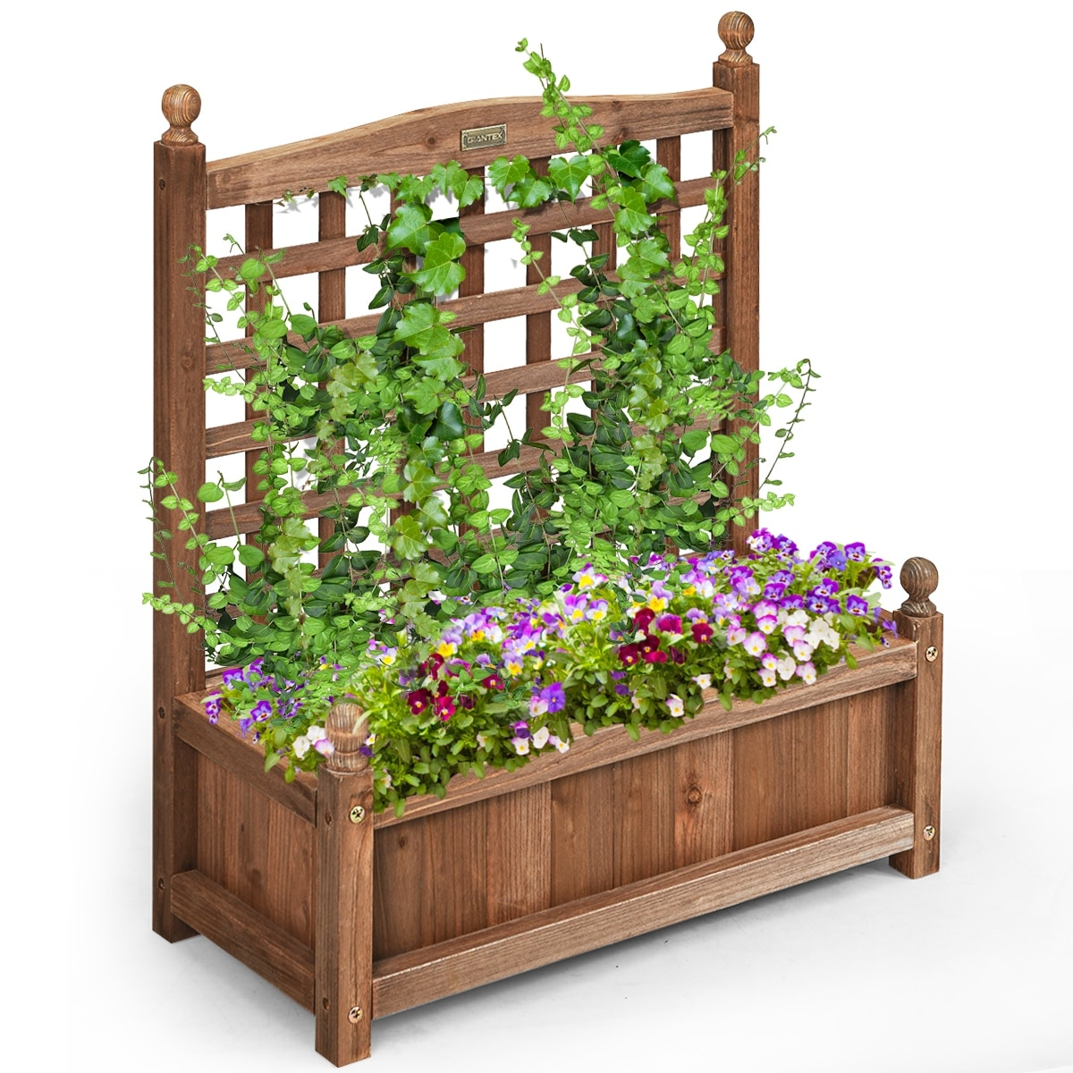 Image of: Shop Black Friday Deals On Costway Solid Wood Planter Box With Trellis Weather Resistant Outdoor 25 L X 11 W X 30 H Overstock 28783086