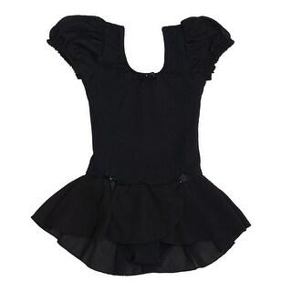 Danshuz Black Puff Sleeve Bow Trim Georgette Skirt Dance Dress Little Girls 2-14