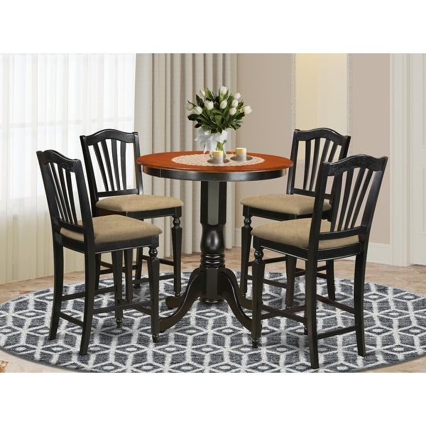 Black Finish Solid Wood Five-piece Kitchen Counter-height Table Set. Opens flyout.