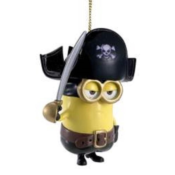 """2.75"""" Despicable Me Pirate Minion with Sword Christmas Ornament - YELLOW"""