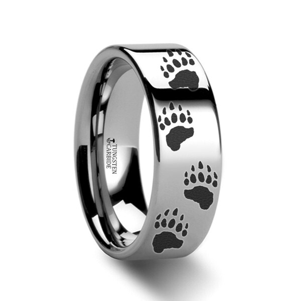 THORSTEN - Animal Track Bear Paw Print Ring Engraved Flat Tungsten - 4mm