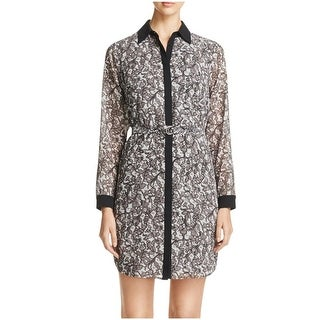 MICHAEL Michael Kors Womens Shirtdress Lace Print Contrast Trim