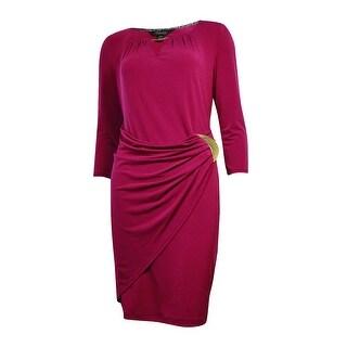 Thalia Sodi Women's Hardware Embellished Faux Wrap Dress