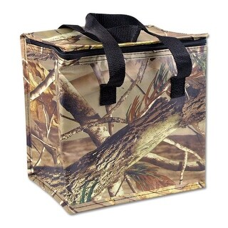 """9"""" Coffee Brown and Pickle Green Tropical Theme Insulated Cooler Bag"""