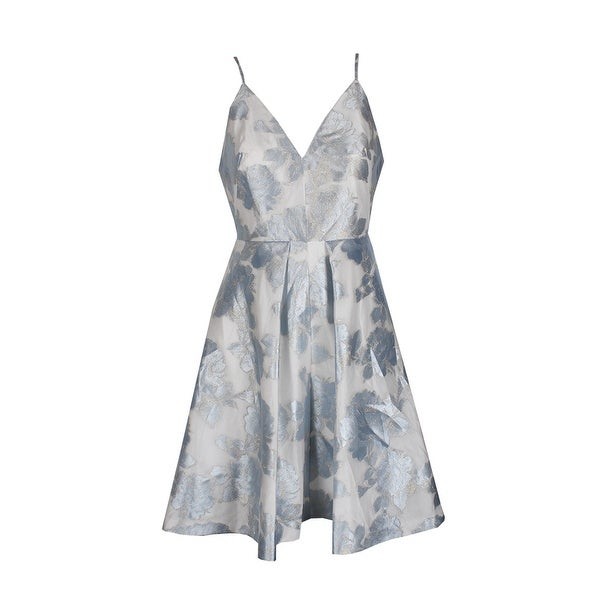Shop Calvin Klein Blue Eggshell Floral Print A Line Dress