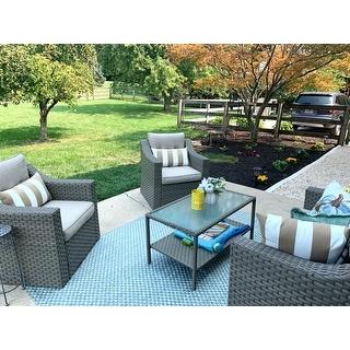 Solaura Outdoor 4-piece Wicker Conversation Set