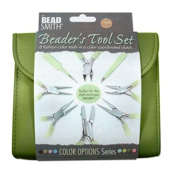 Beadsmith 8 Piece Plier & Tweezer Set Olive Green Jeweler's Tool Kit With Travel Case