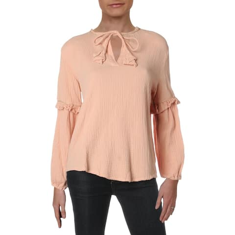 4Our Dreamers Womens Peasant Top Cotton Ruffled - Blush