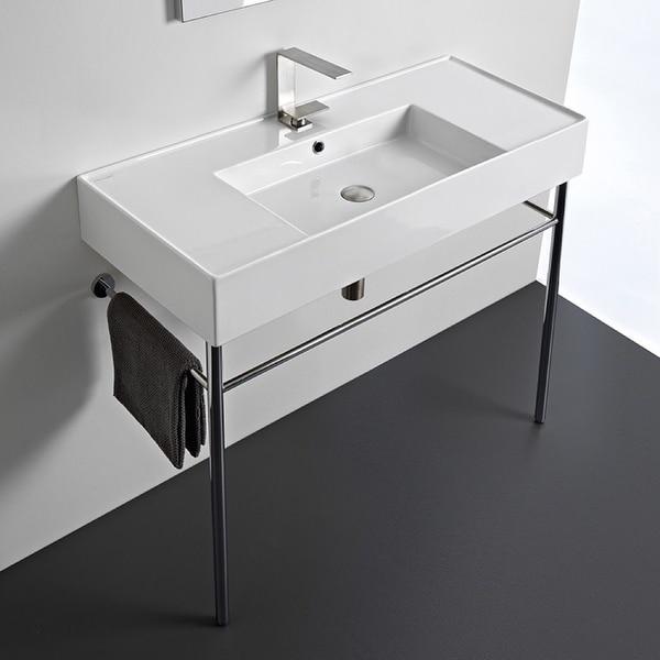 "Nameeks Scarabeo 5124-CON Scarabeo Teorema 2.0 40"" Rectangular Ceramic Console Bathroom Sink with Overflow"