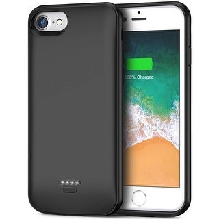 NEW 4000mAh Rechargeable External Battery Case - for iPhone 6 / 7 / 8 - Rubberized Grip & Raised Bezels - Magnetic Back