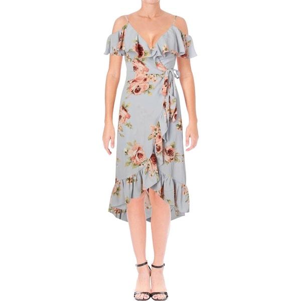 922fa26ed979f Aqua Womens Party Dress Floral Print Cold Shoulder
