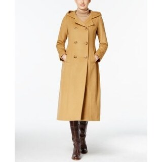 Anne Klein Petite Double-Breasted Maxi Coat Camel in Size 4P