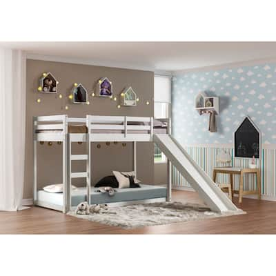Themes and Rooms Twin Over Twin Solid Wood Low Loft Bunk Bed with Slide