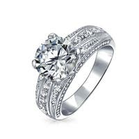 Bling Jewelry Vintage Style .925 Sterling Silver  4 Prong Round CZ Engagement Ring