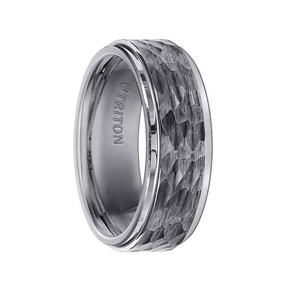 Tungsten Hammered Wedding Band | Shop Isaac Tungsten Carbide Wedding Band With Polished Step Edges