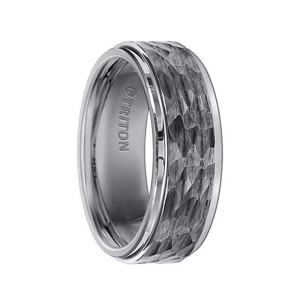 Mens Tungsten Carbide Wedding Band Raised Brushed Center with Gold Plating FREE SHIPPING