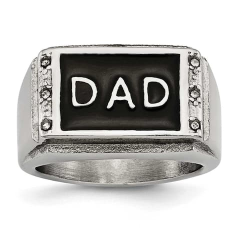 Chisel Stainless Steel Polished Black Enameled CZ Dad Ring (15 mm)