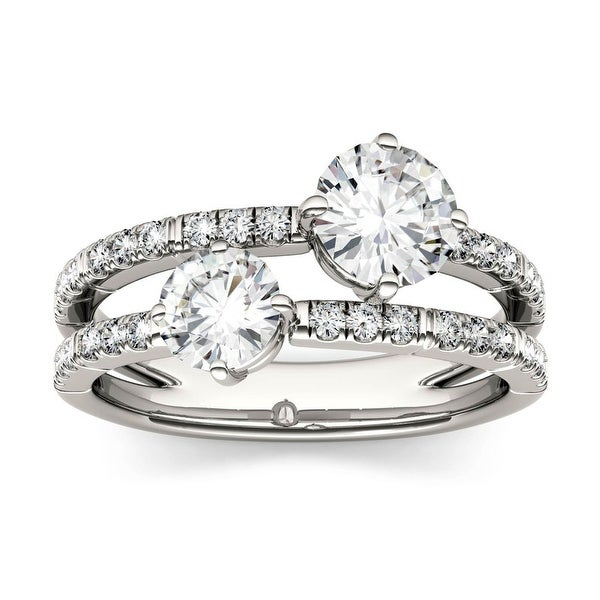 14k White Gold 1.60ct Round Moissanite Two Stone Ring. Opens flyout.